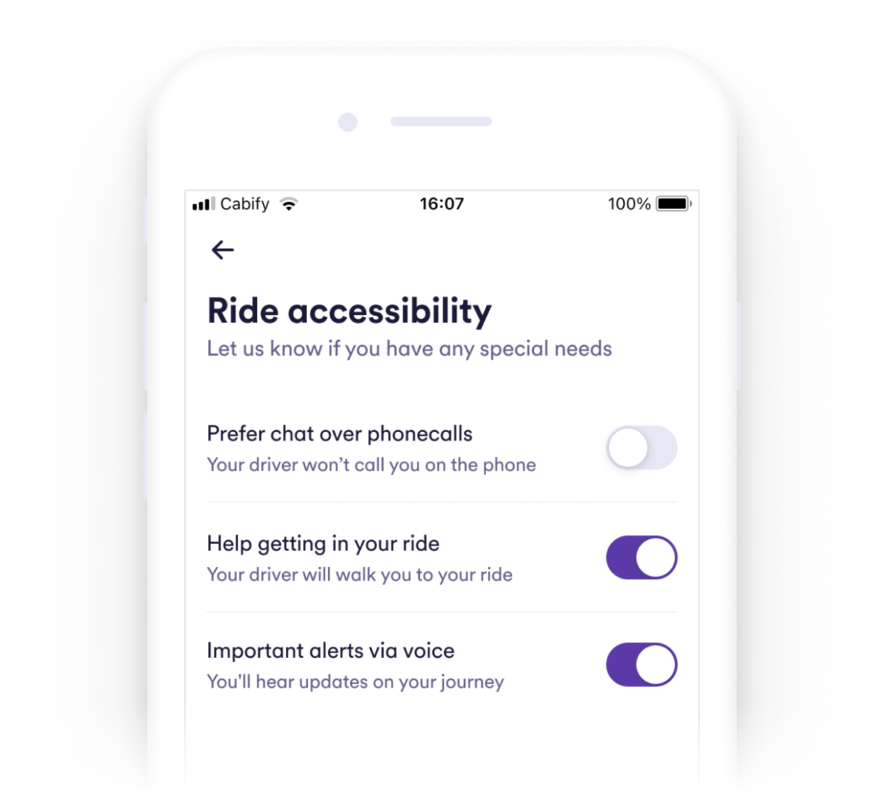 Image showing the Accessibility menu screen in Cabify's app.